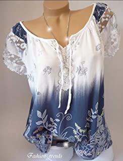 HTOOHTOOH Women Short Sleeve Lace V Neck T Shirt Cute Lace Blouse Top
