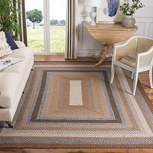 Safavieh Braided Collection BRD313A Hand-woven Reversible Area Rug, 6' x 9', Brown/Multi