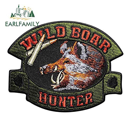 13cm X 10.3cm Voor Wild Boar Hunter Motorfiets Auto Stickers Graffiti Sticker Auto Styling Waterdichte Trek Bloem Sticker