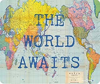 The World Awaits World Map Globe Thick Mousepad by Atomic Market