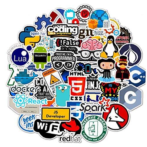 Angoter 50 Pz Programmazione Sticker Technology Software Programmi i Dati del Computer Adesivi per Geek Telefono del Computer Portatile Notebook Stile Casuale