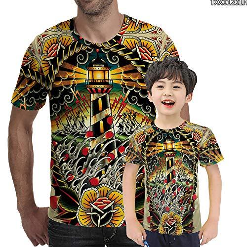YAMAO Camisetas Cuello Redondo, Manga Corta, Camiseta Juvenil de Verano de Personalidad Juvenil Impresa en 3D con Cuello Redondo y Manga Corta