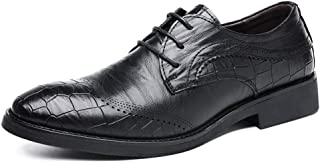 Leather Business Oxfords for Men Dress Shoes Lace up Genuine Leather Block Heel Solid Color Embossed Perforated shoes (Color : Black, Size : 38 EU)