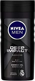 NIVEA Men Body Wash, Deep Impact, 3 in 1 Shower Gel for Body, Face & Hair, with Microfine Clay, 250 ml