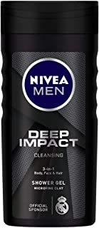 NIVEA MEN Shower Gel, Deep Impact Cleansing Body Wash, Men, 250ml