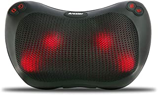 Arealer Neck and Back Massager Massage Pillow with Heat, Shiatsu and Deep Tissue Kneading for Shoulder, Neck, Back and Muscle Pain Relief, Relaxation in Car Home and Office