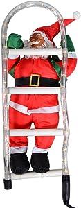 LD Navidad Papá Noel en escalera de Santa Claus de Papá Noel decorativa de Navidad figura decorativa