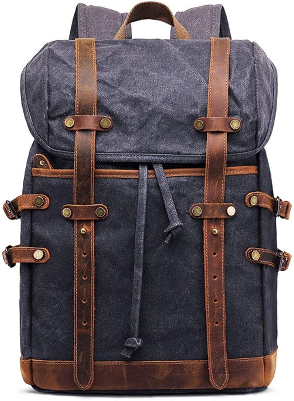 Herren Rucksack Mens Large Capacity Canvas Rucksack wasserdicht Freizeit Schule Rucksack Computer-Tasche Beste Geschenkideen für School College Business und Reisen Geeignet für jeden Standort