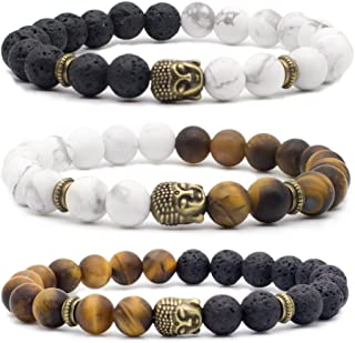 Natural Lava Stone/White Turquoise/Tiger Eye Stone Essential Oil Diffuser Bracelet - Silver/Bronze Buddha Head Buddhist Prayer Beads Mala Meditation Protection Healing Jewelry