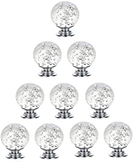 YouChangBest 10Pcs Clear Bubbles Round Glass Dresser Drawer Bubble Crystal Glass Kitchen Cabinet Knobs for Dresser Drawers, Cabinet, Wardrobe, Cupboard, Furniture