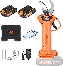 Bravolu Cordless Pruning Shears, Professional Power Secateurs with 1 Inch Cutting Diameter, 2pcs 2000 Mah Lithium Battery,...