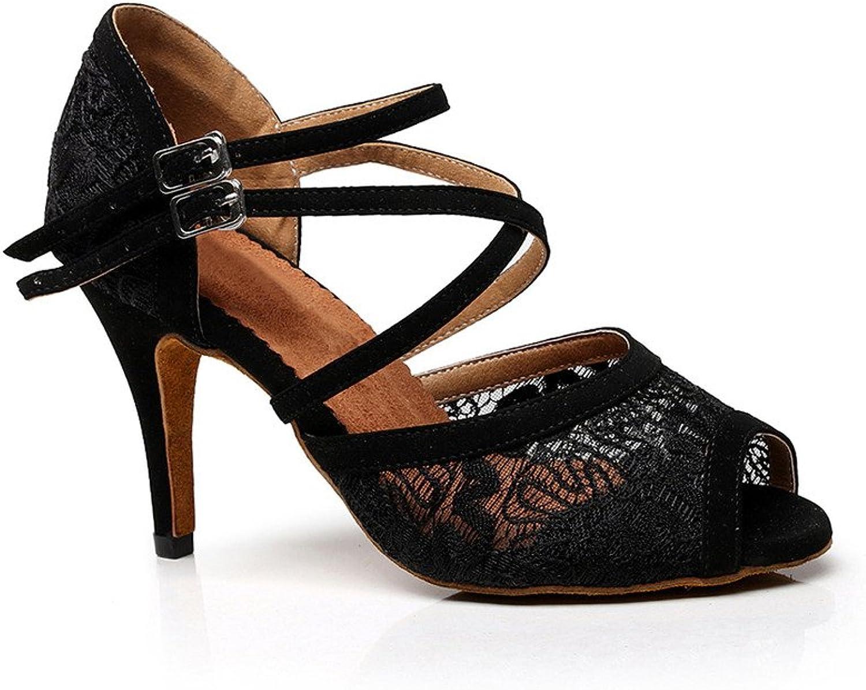 Misu Women's Peep Toe Sandals Latin Salsa Tango Practice Ballroom Dance shoes with 3.3  Heel