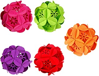LIOOBO 5 piezas bolas de navidad adornos de flores colgantes colgantes decoraciones festivas decoraciones navideñas para bolas de árbol de navidad 5 colores