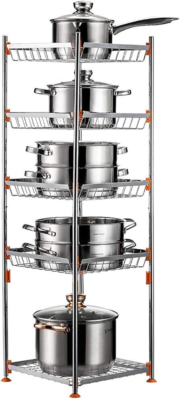 Kitchen Multi-Layer Pot Shelf Rack, Multi-Function Pot Rack Fruit and Vegetable Supplies Sundries Storage Rack Corner Storage Pot Rack (Size   34  34  102cm)