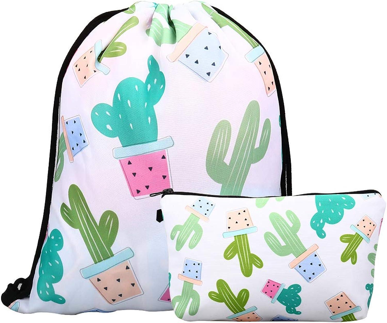 Lingpeng 2Piece Set Waterproof Drawstring Bag for Girls,Print Backpack Travel Gym Bags (Cactus)