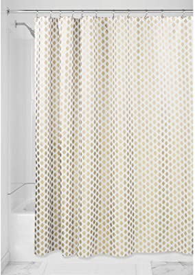 Amazon Com Mdesign Decorative Diamond Print Easy Care Fabric Shower Curtain With Reinforced Buttonholes For Bathroom Showers Stalls And Bathtubs Machine Washable 72 X 72 Gold White Home Kitchen