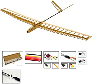 Viloga RC Model Airplanes Uzi Glider Plane, 1.4M Laser Cut Balsawood Gliders RC Sailplane Kit, DIY Electric 3CH Radio Controlled Glider Airplane Wooden RC Aeropalnes for Adults Outdoor Fly
