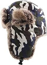 ZHRUI Sombreros, Invierno Mantener Cálidos Gorras de estilo militar Sombrero de esquí ruso Orejeras de felpa Sombreros Casquillo de la barbilla ajustable ajustable Casquillo plano acolchado Forro de p