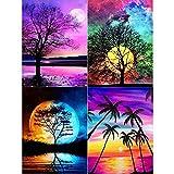 Paint By Numbers - 4 piezas pintar por numeros con luna brillante y árbol para adultos, principiantes, niños, cumpleaños, Navidad, regalo, decoración de la casa, manualidades de bricolaje