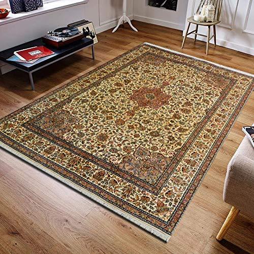 TrendyLiving4U tapijt woonkamer laagpolig Kashmir Kashan handwerk 169x247cm beige