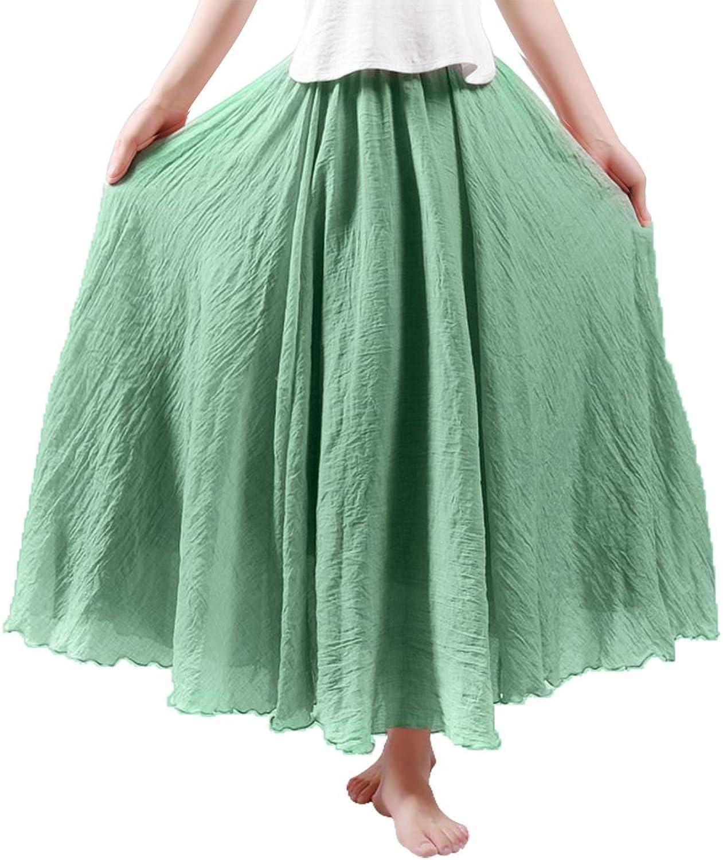 HOYMN Women's Weekend Skirts Full Ankle Length Maxi Skirt Linen Solid color Skirt 37