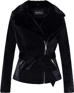 Giolshon Chaqueta Corta de Moto de Piel sintética para Mujer, el Abrigo con Cuello de Piel sintética