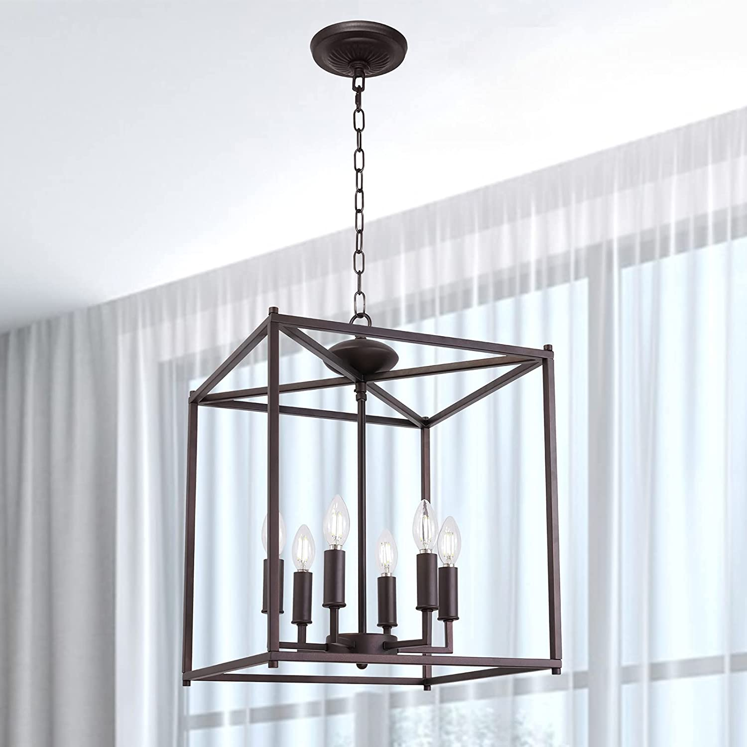 Ranking TOP10 Lucidce Max 78% OFF Chandelier Farmhouse Foyer Lighting Rubbed 6 Lights Oil