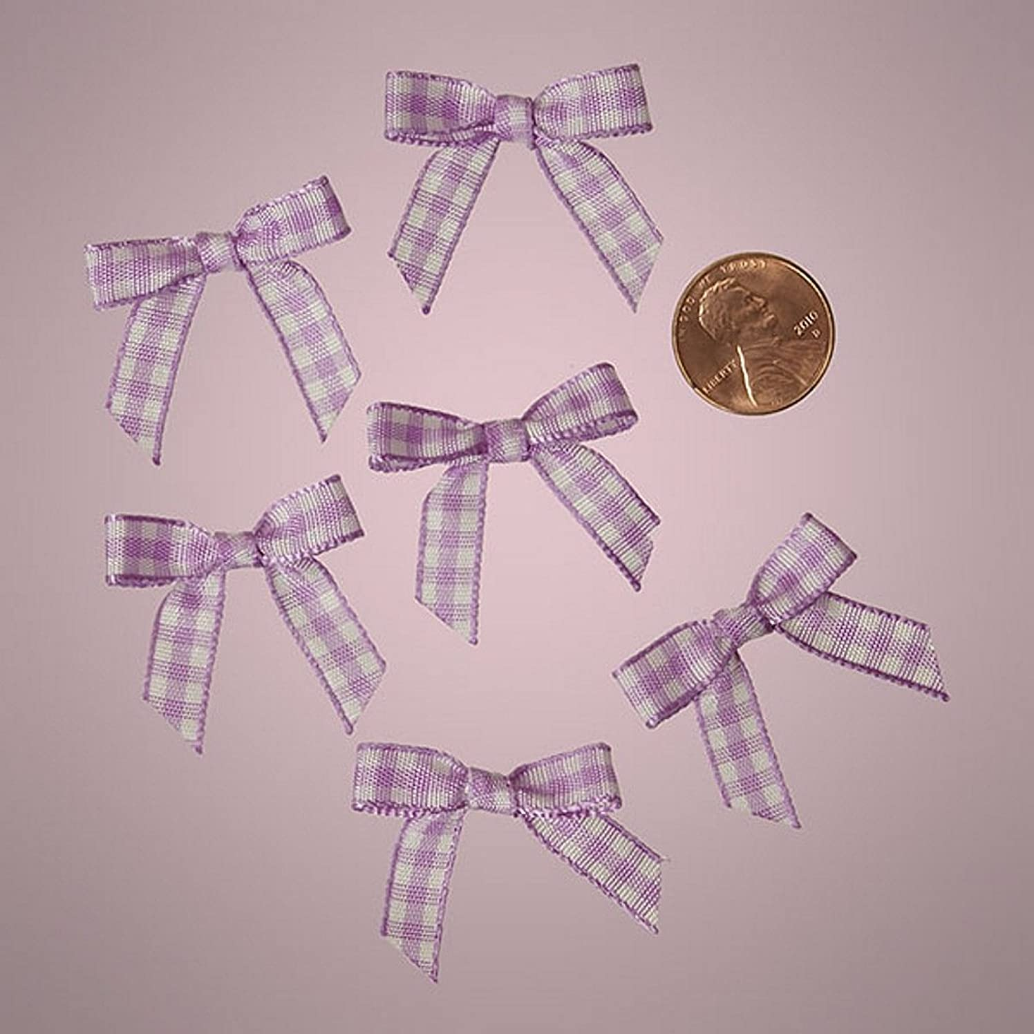 Mini Lavender Purple and White Checkered Gingham Bows (25)