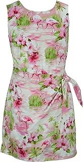 RJC Women's Flamingo Beach Short Hawaiian Mock Wrap Sarong Dress Pink Small