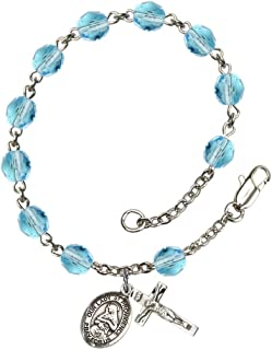Bonyak Jewelry Our Lady of Providence Silver Plate Rosary Bracelet 6mm Fire Polished Beads - Every Birth Month Color