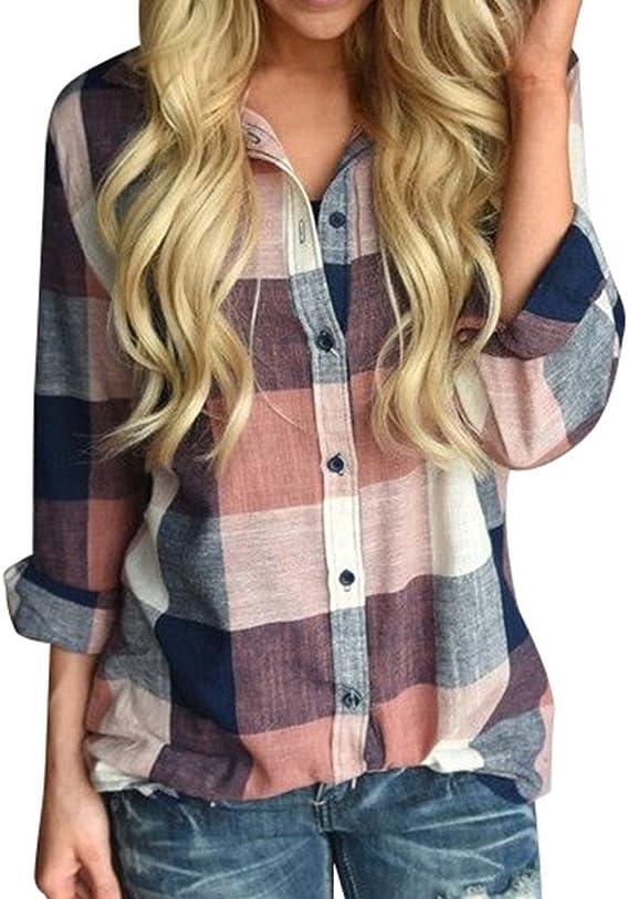 Camisa de Blusa a para Cuadros Camisa Mujer Modernas Casual ...