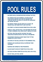 Pool Rules Sign, 14x10 inch Plastic for Recreation by ComplianceSigns