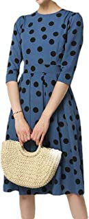 Women's Classic Fit Long Sleeve High Waist Polka Dot Print Midi Dress