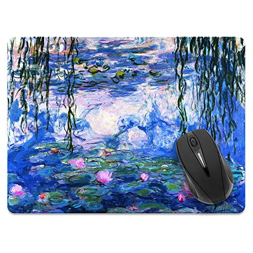 Extra Large (X-Large) Size Non-Slip Rectangle Mousepad, FINCIBO Claude Monet Water Lilies Mouse Pad for Home, Office and Gaming Desk
