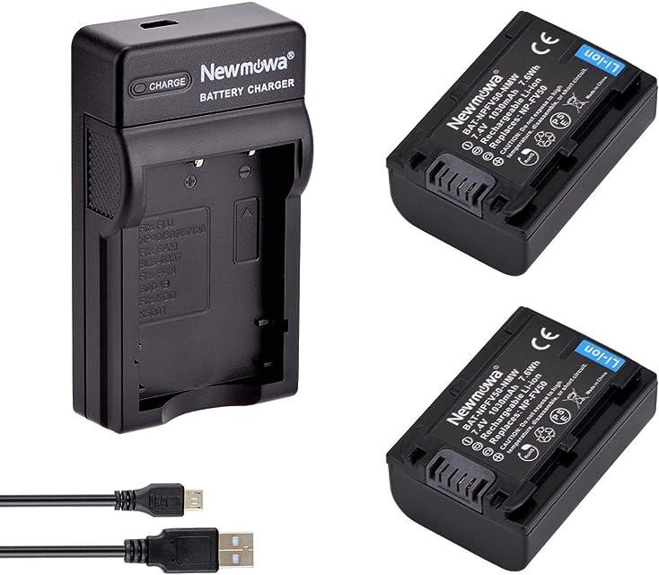 Newmowa NP-FV50 Batería (2-Pack) y Kit Cargador Micro USB portátil para Sony NP-FV50 PJ430V PJ540 PJ580V PJ650V PJ710V PJ760V PJ790V PJ810 TD20V TD30V XR150 XR155 XR160