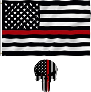 10 Yard Gain Thin Red Line Firefighter EMT First Responder USA Flag with Punisher Thin Red Line 3M Vinyl Reflective Decal