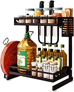 Whifea Spice Racks for Cabinet, 2 Tier Kitchen Storage Organizer Shelf with Knife Holder, Chopping Board Holder, Cutlery Holder and 3 Hooks