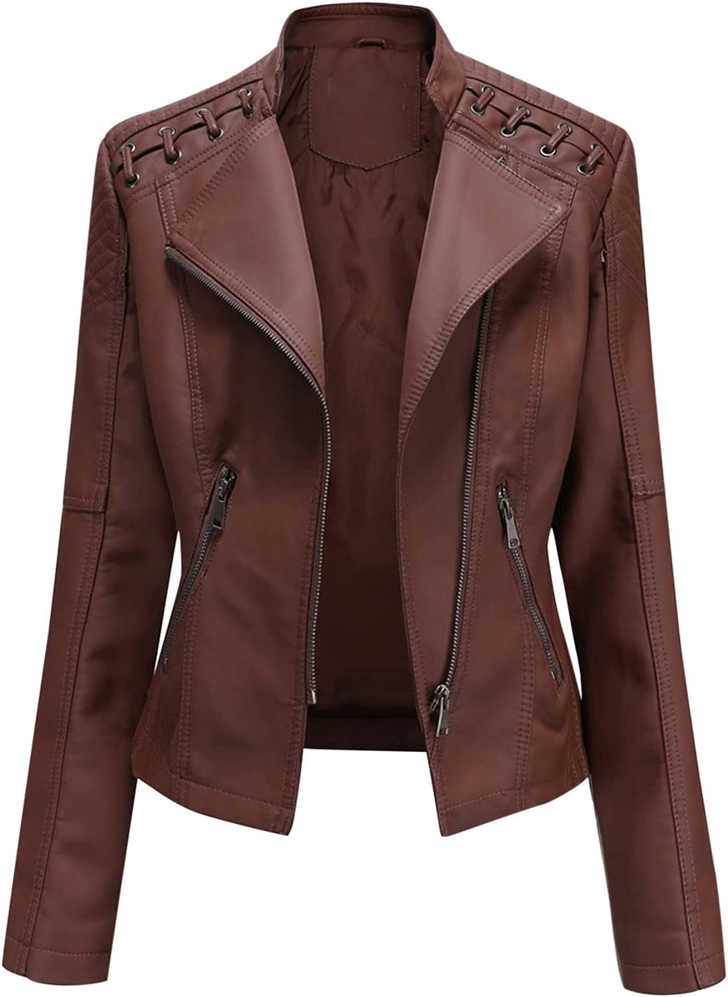 Lucaintus Women's Zipper Front Casual Pu Leather Jacket Long Sleeve Top with Pockets(Coffee,S)