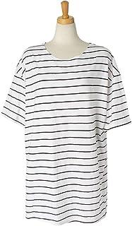 JOKnet カットソー レディース ピンボーダー 半袖 Tシャツ バイカラー ゆったり