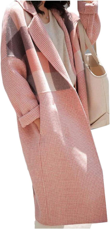 Ruhuao Women's Mid Long Plaid Woolen Hepburn Reversible Wool Trench Coat Jacket