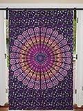 Cortina individual con diseño de mandala de pavo real para colgar en la puerta, de algodón, para colgar en la pared, tamaño grande, de 125 cm x 208 cm