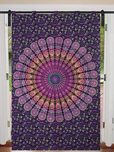 Cortina individual de mandala de pavo real con diseño de mandala, para colgar en la puerta, de algodón hippie para colgar en la pared, cortinas de tratamiento de cortinas grandes de 125 cm x 2