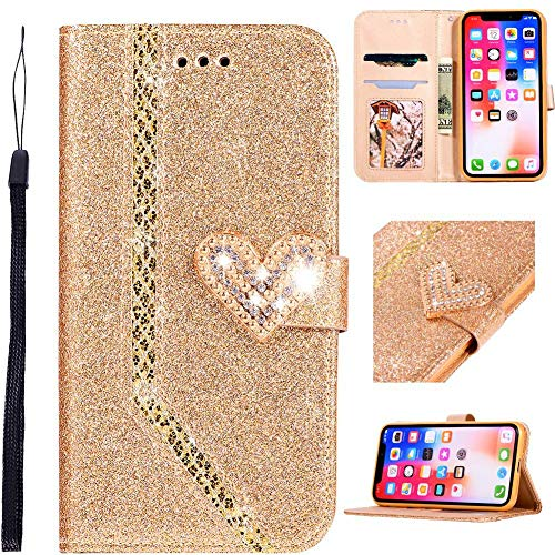 WANYINGLIN Glitter Magnet Wallet Cover Love für Samsung A52,Girl Bling Classy Bookstyle Amazing Modisch Hülle Stand Funktion Colorful Flip Leder Leather