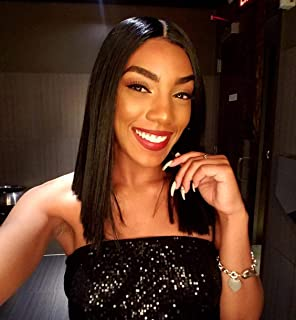 Sapphirewigs Bob Type Light Yaki Black Mix Green Color Short Straight Women Daily Makeup Deep L Synthetic Lace Front Wigs...
