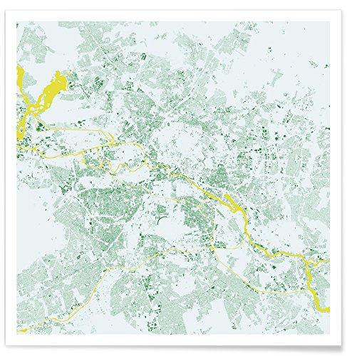 """JUNIQE® Stadtpläne Berlin Poster 20x20cm - Design """"Berlin Green"""" entworfen von Urban Maps"""
