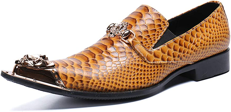 Mann läder skor, Män's Western Western Western Cowboy läder skor Oxford Chelsea Metal Point Toe Slip On Dress bröllop Evening Loafers bspringaaa  officiell hemsida