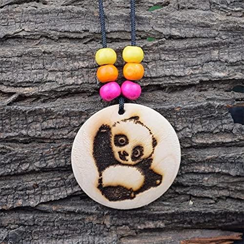 WDBUN Collar Colgante Collar de Panda de Madera con patrón Animal Collar de Cuentas de Colores de Madera Redonda de Animal Encantador Navidad Día de la Madre día de San Valentín cumpleaños Regalo