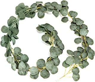 LJDJ Artificial Eucalyptus Garland – 6.5 Ft Faux Silk Eucalyptus Leaves Plant Fake Leaf Greenery Vines Twig Wreath Decorations for Wedding Holiday Party Backdrop Arch Floral Mantle Table Wall Dcor