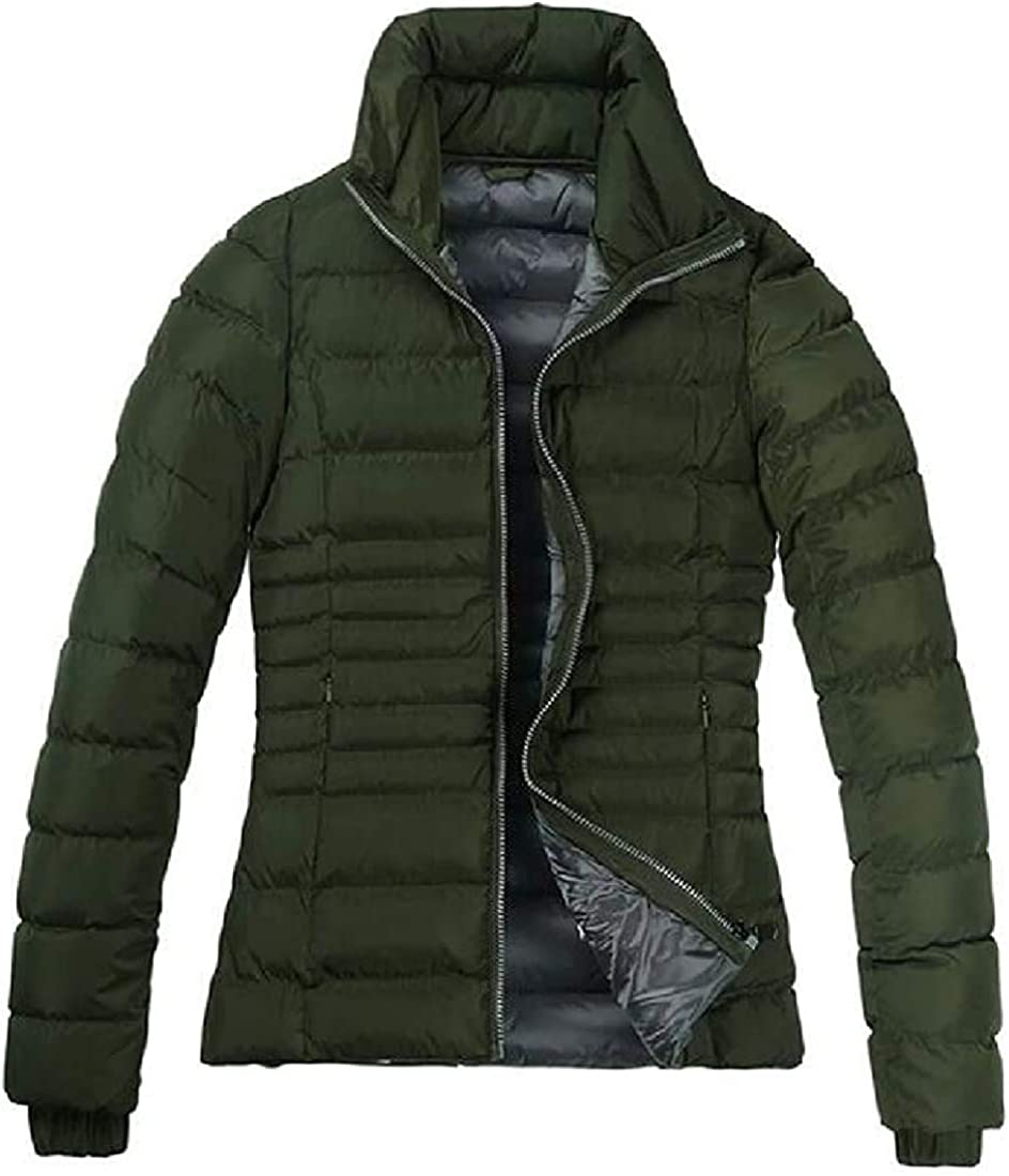 Women's Down-Coat Solid Full Zip Warm Parka Windproof Thick Winter Quilted Jacket