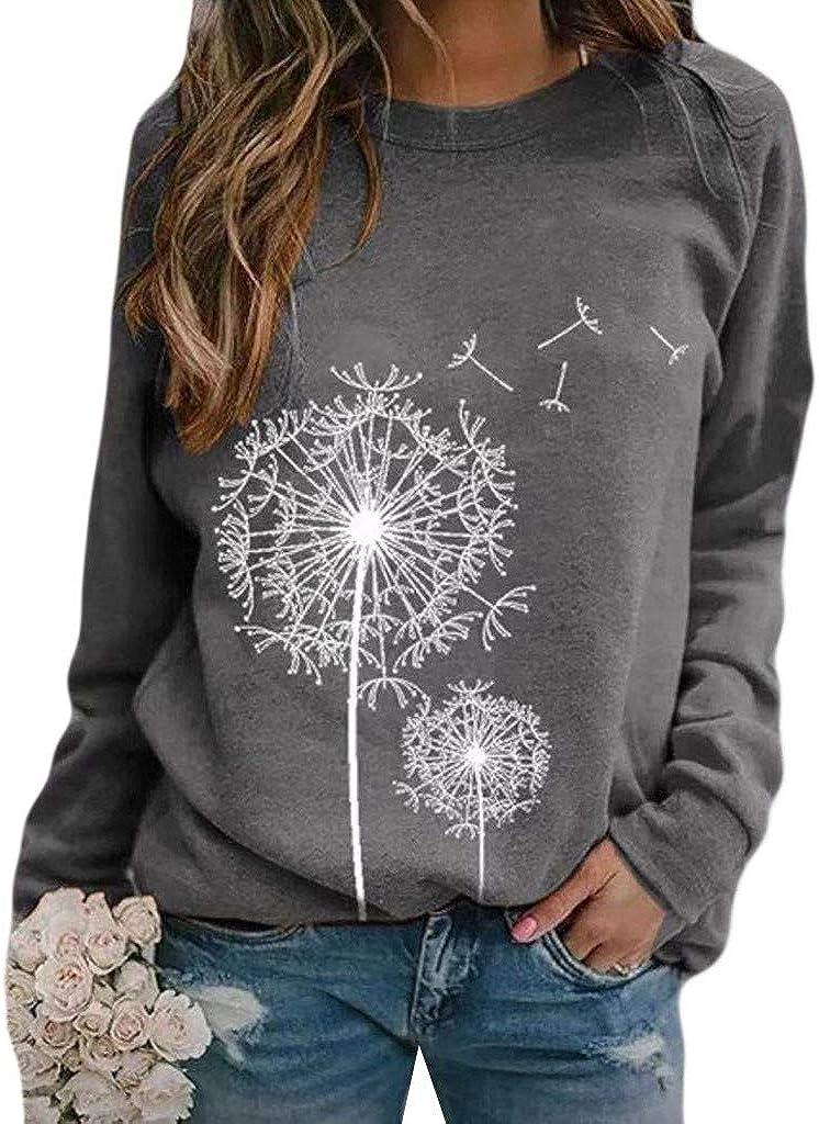 Aniwood Crewneck Sweatshirts for Women Vintage, Women's Casual Long Sleeve Dandelion Round Neck Loose Fit Blouses Tops
